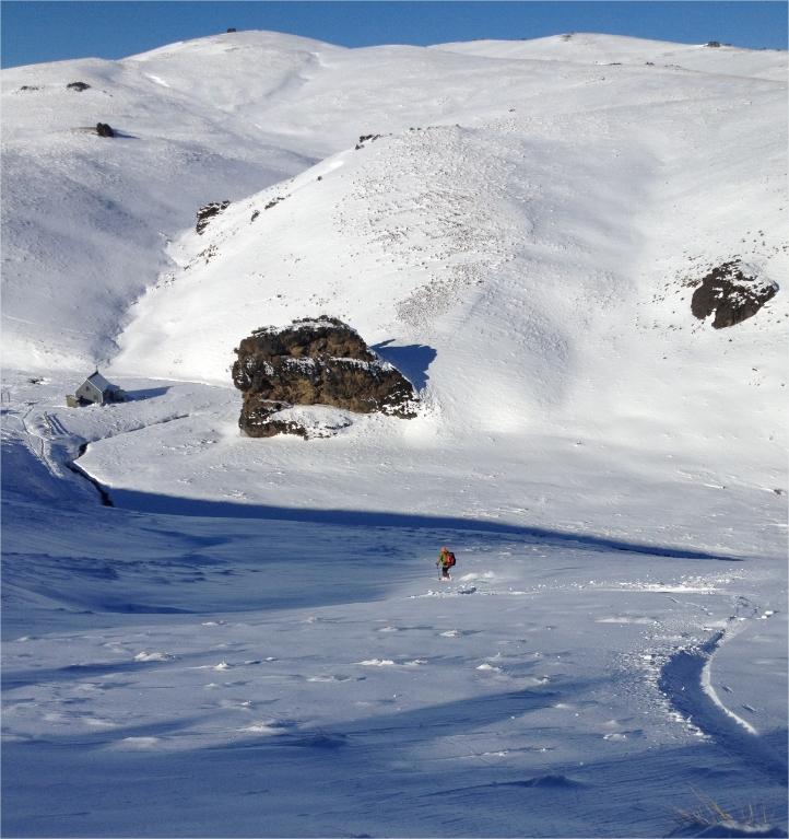Early season dropping down to Meadow Hut