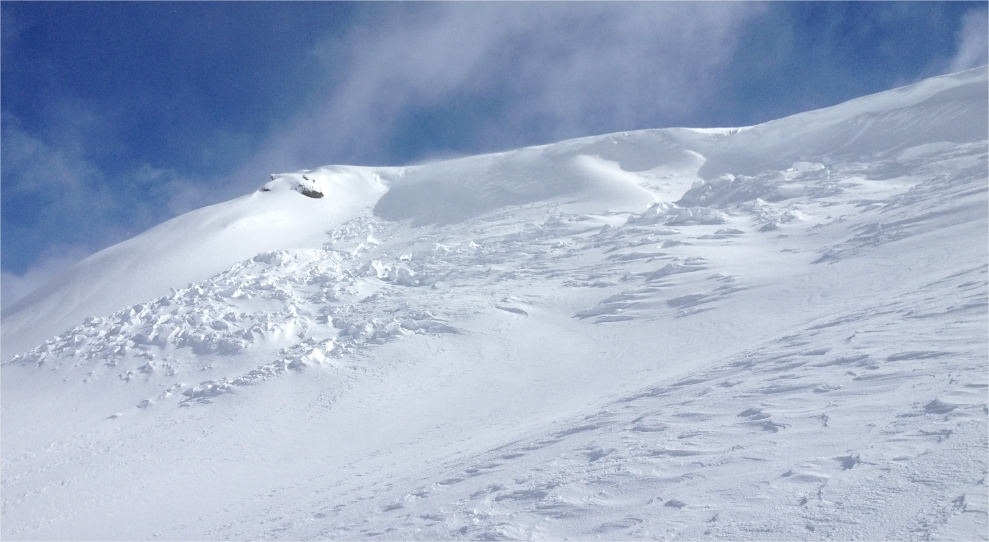 Cornice collapse and slab avalanche.